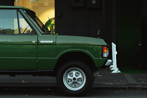 The side of a green Range Rover model