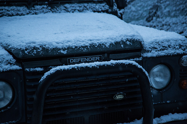 Land Rover Defender in winter