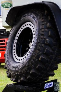 Sturdy tyre being displayed