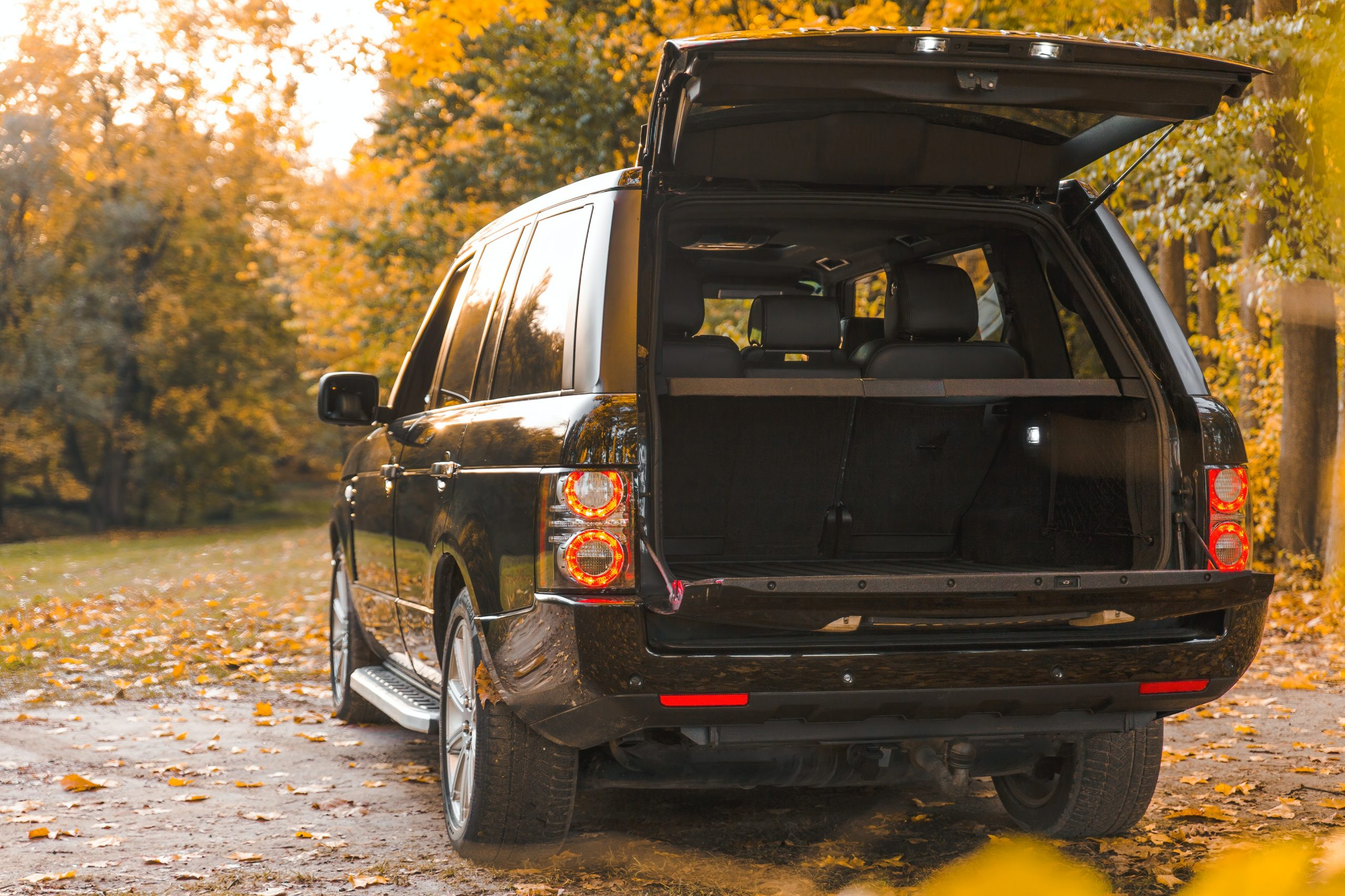 Opened Range Rover car boot