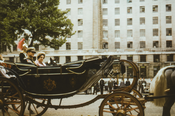 Duke of Edinburgh sits in a carriage during the Opening of Parliament, Queens royal procession 1965